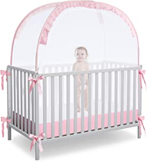 L RUNNZER 婴儿弹出式帐篷罩婴儿床,透视婴儿床和育婴室柔软网眼罩,带视窗,可让宝宝进入