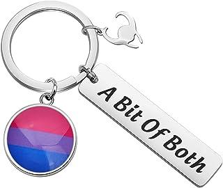 MAOFAED 双性恋骄傲钥匙链 LGBTQ Pride 礼物 Bi Pride 双性恋礼物 送给粉丝的礼物