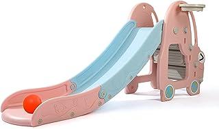 CuFun 儿童滑梯,幼儿游乐场滑梯攀岩器,超长滑梯斜坡带篮球圈,适用于室内室外后院使用(粉色汽车)
