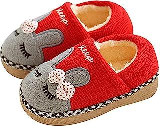 Juxi 幼儿拖鞋女孩和男孩冬季毛皮衬里温暖室内卡通儿童拖鞋