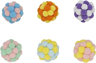 Vitisyao 6 件猫玩具毛绒球,手工制造弹性球带铃铛,互动小猫心理物理锻炼玩具,漂亮的猫咪可以自己娱乐