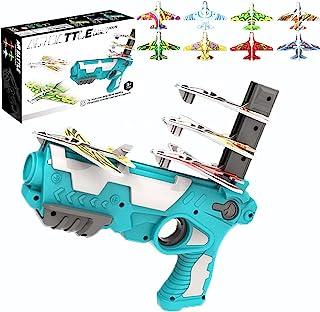 飞机玩具,泡沫弹射飞机户外玩具礼物送给 8-12 岁男孩,玩具射击游戏飞机外带 8 件滑翔飞机,派对礼品飞机活动礼物送给 3-5 岁儿童使用
