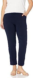 SLIM-SATION 女士加大码拉动斜插口袋纯色裤子环绕舒适