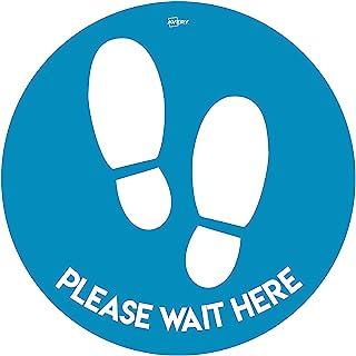 Avery Blue Wait Here 圆形地板贴纸,自粘,圆形,直径 275 毫米,每包4 个标签