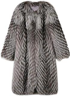 Tngan 女式长款奢华人造毛皮派克大衣灰色厚狐皮大衣保暖毛茸茸夹克,适合寒冷冬季外套