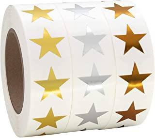 1.91 厘米金属金、银色和青铜星星形状铝箔贴纸标签,每卷 1000 个标签,3 卷。75 英寸