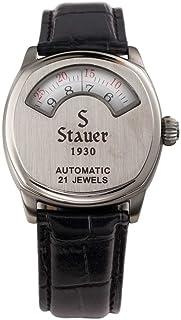 Stauer 男士自动机芯 1930 仪表板手表带真皮黑色皮革表带