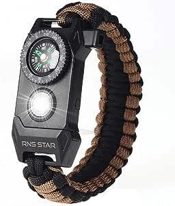 RNS STAR Paracord 生存手链 6 合 1 - 徒步装备旅行露营装备套件 - 70% 大指南针 LED SOS 紧急功能手电筒、消防刮刀、打火石点火器、生存刀