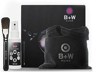 B+W 1086189 护理套装 4 件套,适用于镜头,过滤器和其他光学表面(清洁布,画笔,清洁镜片清洁器 II,拉包)黑色