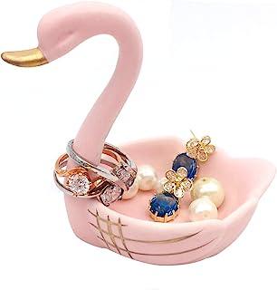 ROSA&ROSE 天鹅戒托珠宝盘陶瓷饰品收纳盒创意礼物女士生日圣诞节 粉红色