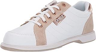 Dexter 女式 Groove IV 白色/麂皮/玫瑰金宽版保龄球鞋