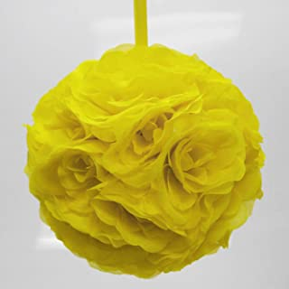 Firefly Imports Flower Kissing Balls Pomander Pom Pom Wedding Centerpiece, Yellow
