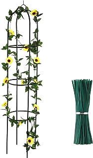 Jetec Obelisk 格子架 6.3 英尺(约 1.9 米)高植物支撑带 12 厘米钢丝扭曲弹性花园植物绑带,适用于攀登葡萄藤、玫瑰和植物支撑结构,*