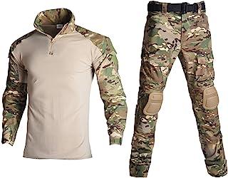 Lilychan 男式战术军装长袖防撕裂制服战斗衬衫和裤子肘部护膝