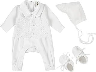 Bow Dream 男童洗礼服装长袖连衫裤,带帽子和鞋子 3 件套