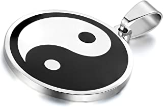 Flongo 男士复古不锈钢黑白阴阳吊坠项链,55.88 厘米链条,Tai Chi Yin Yang 吊坠平衡符号项链