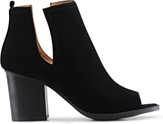 Marco Republic Moscow Slip On Side Cut Peep Toe Medium Mid Heels Ankle Sandals Booties Boots