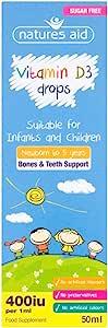 Natures Aid 维生素D3滴剂,婴儿和儿童,无糖,50毫升