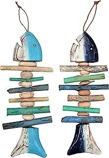 鱼骨与石头墙壁艺术,各种颜色,海滩装饰,2 件套,35.56 厘米