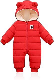 Bigzzia 婴儿冬季连身衣男孩女孩幼儿婴儿简约棉质睡衣外套保暖雪装连帽衫秋季连身衣