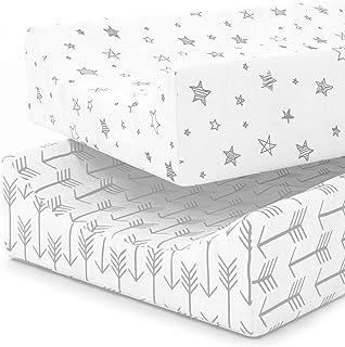 婴儿床床单套装   100% 针织棉质   超软保险柜适用于 BABIES   婴儿床床单适用于标准婴幼儿床垫   2件装 Change Pad Covers 标准