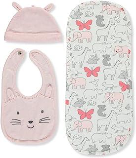 Carter's 女婴帽子围嘴 3 件套 粉红色 One Size