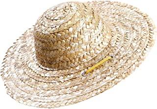 POPETPOP 可调节吉娃娃草帽,时尚狗 Sombrero 帽子,墨西哥派对夏威夷花园遮阳桶帽,小狗和猫咪 - L 码