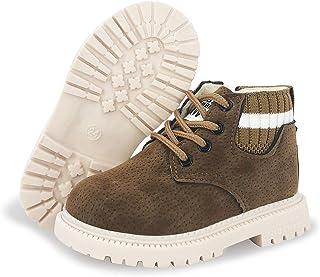 幼童男童女童徒步靴防水合成皮革防滑马丁及踝户外靴(幼儿/小童)