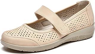 VJH confort 女式 Mary Jane 平底鞋,透气一脚蹬轻便舒适*休闲步行鞋
