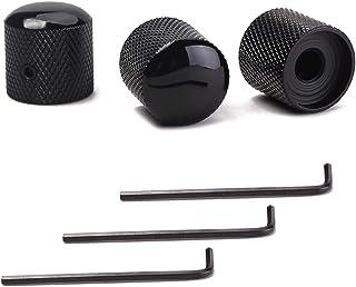 一套 3 个黑色金属吉他控制旋钮,吉他音量调控制圆顶旋钮,Tele Telecaster 或吉他低音替换部件