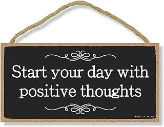 Honey Dew Gifts 励志木牌,用积极的思想开启您的一天,12.7 厘米 x 25.4 厘米悬挂木饰,墙门艺术,家居和办公室装饰