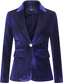 女式天鹅绒 1 粒扣外套夹克办公室工作西装外套派对礼服外套