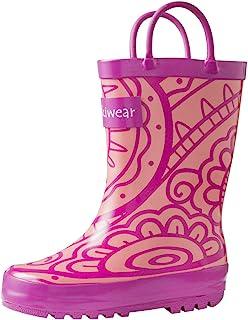 oakiwear 儿童橡胶雨靴带 easy-on 手柄 | 绿色花卉, henna ,部落,火车,消防员,仙女,驼鹿
