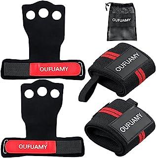 OUFUAMY 3 孔牛皮手柄,2 个腕带,适合家庭锻炼,举重,多计训练,体操,防止手水泡和撕裂,男女适用(红色)