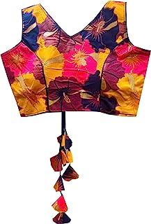 REKHA 女式衬衫纱丽设计师派对服装成衣衬衫纱丽女性设计师印度风格加垫衬衫适用于纱丽露脐 S 042 蓝色