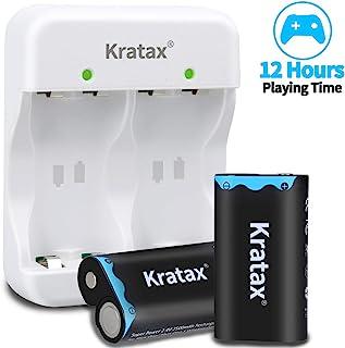 适用于 Xbox 电池和充电器 Kratax 2 件装 2500mAh 镍氢充电电池和充电器 适用于 Xbox One/Xbox One S/Xbox One X/Xbox One Elite 系列无线控制器