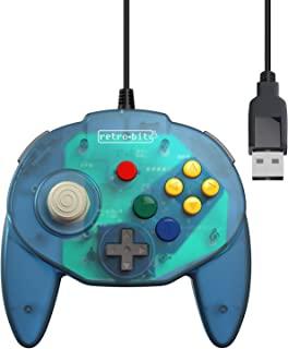Retro-Bit Tribute 64 USB 控制器,适用于电脑、任天堂开关、Mac、蒸汽、复古派对 Raspberry Pi - USB 端口 - (橄榄蓝)