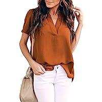 女式上衣时尚休闲开叉 V 领雪纺衬衫女式短袖夏季衬衫