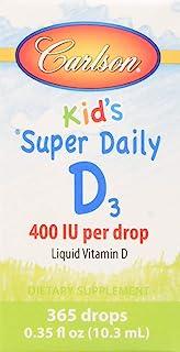 Carlson Baby's Super Daily D3 400 IU(10 毫克),维生素 D3 滴,未味,365液体滴 365 Drops 0.36