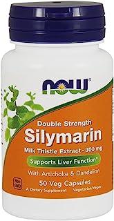NOW 补充剂,水飞蓟素牛奶蓟提取物 300 毫克含朝鲜蓟和蒲公英,双重力量,50 粒素食胶囊