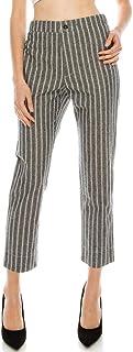 Over Kleshas 女士柔软触感棉/跨度灰色/白色条纹梭织裤