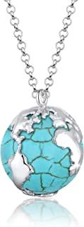 Elli 女款925纯银Xilion切割水晶绿松石项链 长度70厘米