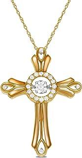 Royal Jewelz 3/8 克拉舞动钻石十字架吊坠项链 14k 白金或黄金。