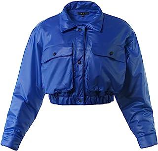 女式前短款双口袋按扣绗缝飞行员夹克