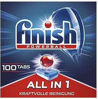 Finish 多效合一洗碗机用餐具洗涤块 不含磷酸盐 带有强力Powerball清洁球,可去除顽固油污,经济装/100块