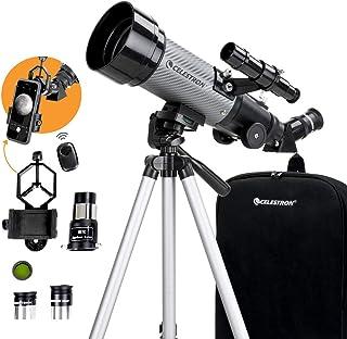 Celestron-70毫米Travel Scope DX-便携式折射望远镜-全镀膜玻璃光学镜-初学者的理想望远镜-BONUS天文软件包-单筒摄影智能手机适配器