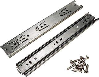 Mcredy 滚珠轴承抽屉滑轨,12 英寸(约 30.5 厘米)不锈钢抽屉式跑步器全延伸设计,专为侧面安装设计,一对银色