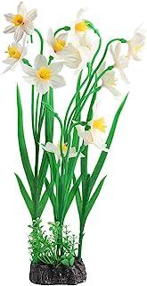 TOPINCN 人造水植物生动水族箱装饰塑料水生植物水草鱼缸植物装饰装饰装饰(白色)