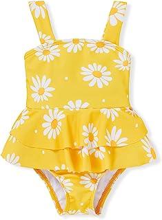 女婴泳衣婴儿彩虹印花比基尼吊带露背荷叶边连体泳装