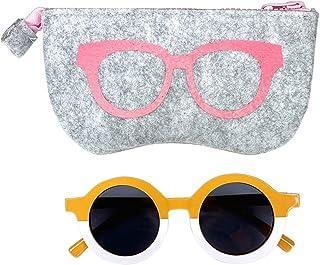 Lucky Love 女童太阳镜,圆形复古幼儿太阳眼镜,适合 1-6 英寸(约 2.5-15.2 厘米)拼色和豹纹